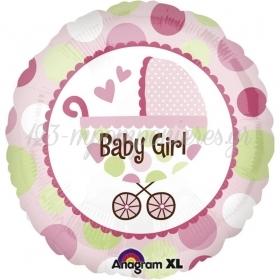 ΜΠΑΛΟΝΙ FOIL 45cm ΓΙΑ ΓΕΝΝΗΣΗ «Baby Girl» ΜΕ ΚΑΡΟΤΣΑΚΙ– ΚΩΔ.:521989-BB