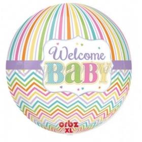 ΜΠΑΛΟΝΙ FOIL 40x38cm ΓΙΑ ΓΕΝΝΗΣΗ SUPERSHAPE «Welcome Baby» BRIGHTS ORBZ– ΚΩΔ.:530918-BB