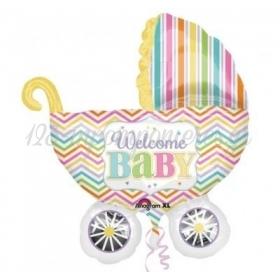 ΜΠΑΛΟΝΙ FOIL 78x71cm ΓΙΑ ΓΕΝΝΗΣΗ SUPERSHAPE «Welcome Baby» ΠΟΛΥΧΡΩΜΟ ΚΑΡΟΤΣΑΚΙ – ΚΩΔ.:531588-BB