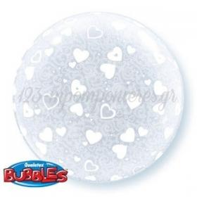 """ΜΠΑΛΟΝΙ FOIL 20""""(50cm) HEARTS ALL AROUND DECO Bubble – ΚΩΔ.:15610-BB"""