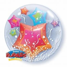 """ΜΠΑΛΟΝΙ FOIL 24""""(61cm) ΑΣΤΕΡΙΑ Bubble ΔΙΠΛΟ – ΚΩΔ.:15616-BB"""