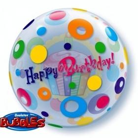 """ΜΠΑΛΟΝΙ FOIL 22""""(56cm) CUP CAKE «Happy Birthday» Bubble ΜΟΝΟ – ΚΩΔ.:23606-BB"""