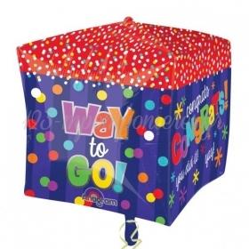 ΜΠΑΛΟΝΙ FOIL 38cm ΓΙΑ ΑΠΟΦΟΙΤΗΣΗ SUPER SHAPE ΚΥΒΟΣ «Way to Go!Congrats»– ΚΩΔ.:528384-BB