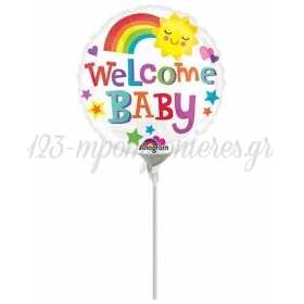 ΜΠΑΛΟΝΙ FOIL MINI SHAPE 9''(23cm) «Welcome Baby» ΧΡΩΜΑΤΑ – ΚΩΔ.:533719-BB