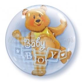 """ΜΠΑΛΟΝΙ FOIL 24""""(61cm) ΑΡΚΟΥΔΑΚΙ «Baby Boy» Bubble ΔΙΠΛΟ – ΚΩΔ.:68646-BB"""