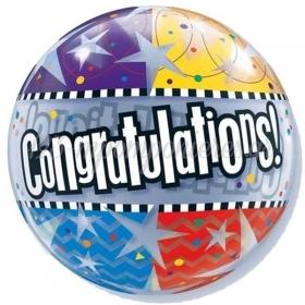 """ΜΠΑΛΟΝΙ FOIL 22""""(56cm) «Congratulations» Bubble ΜΟΝΟ – ΚΩΔ.:68652-BB"""