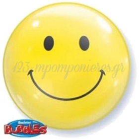 """ΜΠΑΛΟΝΙ FOIL 22""""(56cm) SMILE FACE  Bubble ΜΕΜΟΝΩΜΕΝΟ ΜΕ ΦΟΥΣΚΑ – ΚΩΔ.:68817-BB"""