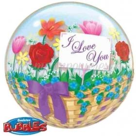 """ΜΠΑΛΟΝΙ FOIL 22""""(56cm) ΛΟΥΛΟΥΔΙΑ «I Love You» Bubble ΜΟΝΟ – ΚΩΔ.:81074-BB"""