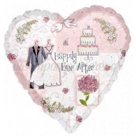 ΜΠΑΛΟΝΙ FOIL 45cm ΚΑΡΔΙΑ «Happily Ever After»- ΚΩΔ.:119996-BB
