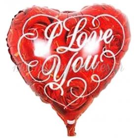 ΜΠΑΛΟΝΙ FOIL 18''(46cm)  ΚΟΚΚΙΝΗ ΚΑΡΔΙΑ 'I Love You' ΜΕ ΤΡΙΑΝΤΑΦΥΛΛΑ – ΚΩΔ.:206255-BB