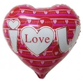 ΜΠΑΛΟΝΙ FOIL 18''(46cm) ΚΟΚΚΙΝΗ ΚΑΡΔΙΑ «I Love You» ΜΕ ΦΟΥΞΙΑ ΡΙΓΕΣ – ΚΩΔ.:206264-BB