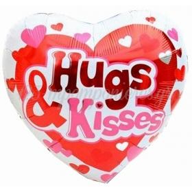 ΜΠΑΛΟΝΙ FOIL 18''(46cm)  ΚΑΡΔΙΑ «Hugs & Kisses» – ΚΩΔ.:207153-BB