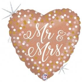 ΜΠΑΛΟΝΙ FOIL 45cm ΡΟΖ-ΧΡΥΣΗ ΚΑΡΔΙΑ «Mr & Mrs» ΠΟΥΑ  - ΚΩΔ.:367142-BB