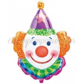 Μπαλονι Foil 83Cm Super Shape Χαμογελαστος Κλοουν Με Μωβ Καπελο – ΚΩΔ.:507661-Bb