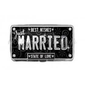 ΜΠΑΛΟΝΙ FOIL 22x56cm SUPER SHAPE ΠΙΝΑΚΙΔΑ «Just Married» - ΚΩΔ.:518017-BB