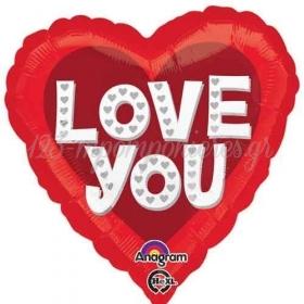 ΜΠΑΛΟΝΙ FOIL 45cm ΚΟΚΚΙΝΗ ΚΑΡΔΙΑ «Love You» ΜΕ ΑΣΗΜΙ ΚΑΡΔΟΥΛΕΣ - ΚΩΔ.:531815-BB