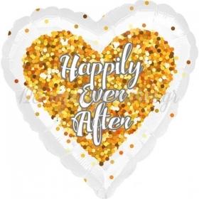 ΜΠΑΛΟΝΙ FOIL 45cm ΛΕΥΚΗ ΚΑΡΔΙΑ «Happily Ever After»ΜΕ ΧΡΥΣΟ ΚΟΝΦΕΤΤΙ - ΚΩΔ.:535189-BB