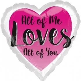 ΜΠΑΛΟΝΙ FOIL 45cm ΚΑΡΔΙΑ «All Of Me Loves All Of You» - ΚΩΔ.:536485-BB