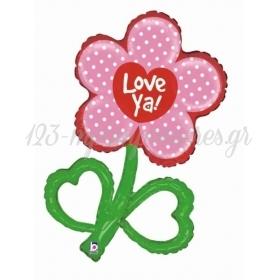 ΜΠΑΛΟΝΙ FOIL 60x97cm SUPER SHAPE ΛΟΥΛΟΥΔΙ «Love Ya» - ΚΩΔ.:85392-BB
