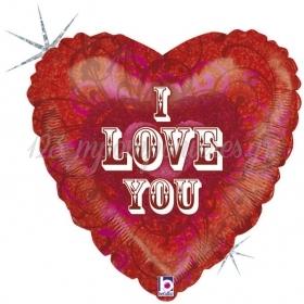 ΜΠΑΛΟΝΙ FOIL 45cm ΚΑΡΔΙΑ «I Love You» ΚΕΝΤΗΜΑ - ΚΩΔ.:86643H-BB