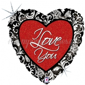 ΜΠΑΛΟΝΙ FOIL 45cm ΚΑΡΔΙΑ «I Love You» ΜΕ ΜΑΥΡΟ ΦΙΝΙΡΙΣΜΑ - ΚΩΔ.:86719H-BB