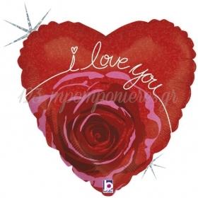 ΜΠΑΛΟΝΙ FOIL 45cm ΚΑΡΔΙΑ «I Love You» ΑΝΘΟΣ ΤΡΙΑΝΤΑΦΥΛΛΟΥ - ΚΩΔ.:86795H-BB