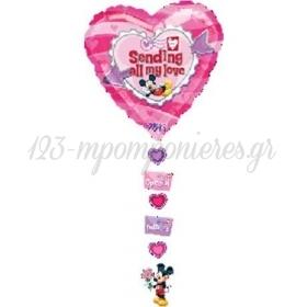 Μπαλονι Foil 86Cm Καρδια Mickey Mouse «Sending All My Love» Με Κορδελα – ΚΩΔ.:510468-Bb
