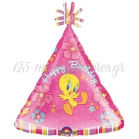 ΜΠΑΛΟΝΙ FOIL 45cm SUPER SHAPE ΚΑΠΕΛΟ TWEETY «Happy Birthday» - ΚΩΔ.:512501-BB