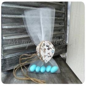 Μπομπονιέρα Βάπτισης τρισδιάστατο αερόστατο από λινάτσα με τούλι - Κωδ:MPO-50587