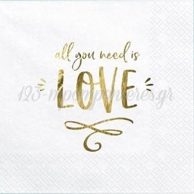 ΧΑΡΤΟΠΕΤΣΕΤΕΣ ΛΕΥΚΕΣ ''ALL YOU NEED IS LOVE''  - ΚΩΔ:SP33-75-008-019-BB
