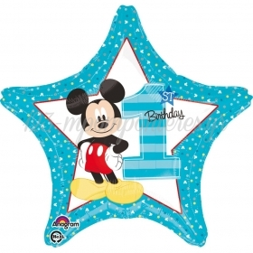 Star Mickey Mouse Μπαλονι Foil Γενεθλιων «1St Birthday» 45Cm – ΚΩΔ.:534335-Bb