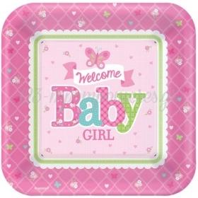 ΠΙΑΤΑ ΜΕΓΑΛΑ 'WELCOME BABY GIRL' 26CM - ΚΩΔ:591458-BB