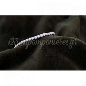 Βραχιολι Ασημι Ελαστικο Με Ροζ Πετρες - ΚΩΔ:Mar17Ra-Rn