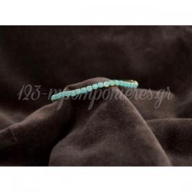 Βραχιολι Χρυσο Ελαστικο Με Τυρκουαζ Πετρες - ΚΩΔ:Mar17Sx-Rn