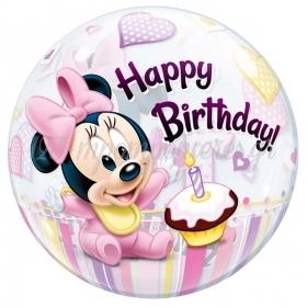 """Μπαλονι Foil 22""""(56Cm) Minnie Mouse «1St Birthday» Bubble Μονο – ΚΩΔ.:12862-Bb"""
