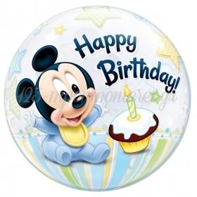 """Μπαλονι Foil 22""""(56Cm) Mickey Mouse «1St Birthday» Bubble Μονο – ΚΩΔ.:12864-Bb"""