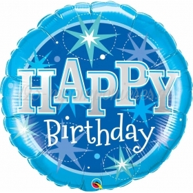 ΜΠΑΛΟΝΙ FOIL 91cm «Happy Birthday» BLUE SPARKLE – ΚΩΔ.:43216-BB