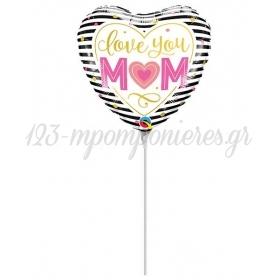 ΜΠΑΛΟΝΙ FOIL MINI SHAPE 9''(23cm) ΚΑΡΔΙΑ «Love You Mom» – ΚΩΔ.:73656-BB