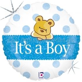 ΜΠΑΛΟΝΙ FOIL 45cm ΓΙΑ ΓΕΝΝΗΣΗ BABY BOY ΑΡΚΟΥΔΑΚΙ ΜΕ ΓΚΛΙΤΕΡ – ΚΩΔ.:86826-BB