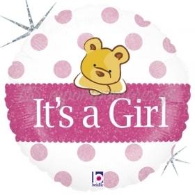ΜΠΑΛΟΝΙ FOIL 45cm ΓΙΑ ΓΕΝΝΗΣΗ BABY GIRL ΑΡΚΟΥΔΑΚΙ ΜΕ ΓΚΛΙΤΕΡ – ΚΩΔ.:86827-BB
