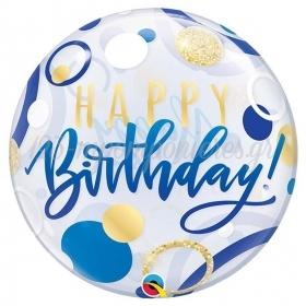 """ΜΠΑΛΟΝΙ FOIL 22""""(56cm) «Happy Birthday» ΜΠΛΕ ΚΑΙ ΧΡΥΣΟ Bubble ΜΟΝΟ – ΚΩΔ.:87748-BB"""
