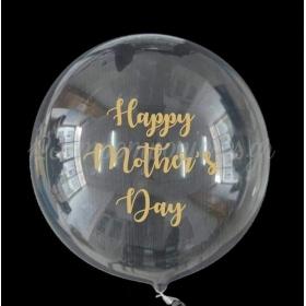 """ΜΠΑΛΟΝΙ FOIL 18""""(45cm) Bubble ΔΙΑΦΑΝΟ ΜΕ ΧΡΥΣΟ ΑΥΤΟΚΟΛΛΗΤΟ ΜΗΝΥΜΑ «Happy Mother's Day» – ΚΩΔ.:206318e-BB"""