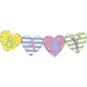 ΜΠΑΛΟΝΙ FOIL SUPER SHAPE 105x24cm BABY HEART BANNER – ΚΩΔ.:35877-BB