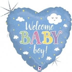 ΜΠΑΛΟΝΙ FOIL 45cm ΚΑΡΔΙΑ «Welcome Baby Boy» – ΚΩΔ.:36874-BB