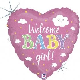 ΜΠΑΛΟΝΙ FOIL 45cm ΚΑΡΔΙΑ «Welcome Baby Girl» – ΚΩΔ.:36875-BB