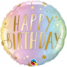 ΜΠΑΛΟΝΙ FOIL SUPER SHAPE 45cm «Happy Birthday» ΠΑΣΤΕΛ OMBRE – ΚΩΔ.:88052-BB