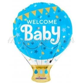 """ΜΠΑΛΟΝΙ FOIL 18""""(46cm) ΑΕΡΟΣΤΑΤΟ «Welcome Baby» ΣΙΕΛ – ΚΩΔ:15474-BB"""