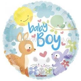 ΜΠΑΛΟΝΙ FOIL 45cm ΓΙΑ ΓΕΝΝΗΣΗ «Baby Boy» ΜΕ ΖΩΑΚΙΑ – ΚΩΔ.:16134-BB