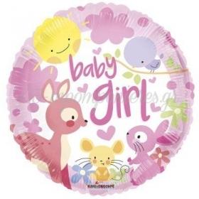 ΜΠΑΛΟΝΙ FOIL 45cm ΓΙΑ ΓΕΝΝΗΣΗ «Baby Girl» ΜΕ ΖΩΑΚΙΑ – ΚΩΔ.:16135-BB