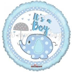 """ΜΠΑΛΟΝΙ FOIL 45cm ΓΙΑ ΓΕΝΝΗΣΗ «It""""s a Boy» ΜΕ ΕΛΕΦΑΝΤΑΚΙ – ΚΩΔ.:16170-BB"""